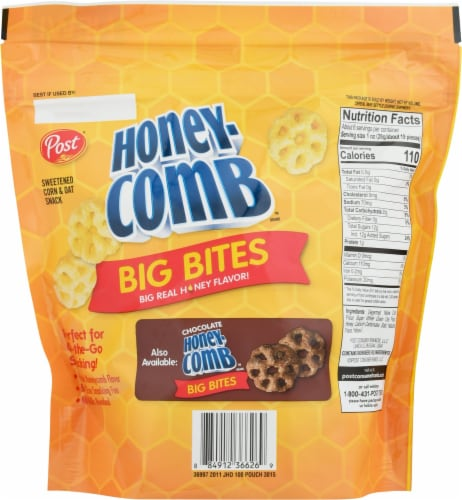 Post Honey-Comb Big Bites Sweetened Corn & Oat Snack Perspective: back
