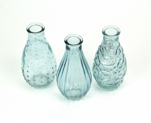 Set of 3 Light Blue Decorative Textured Glass Bottle Bud Vases 5.75 Inches High Perspective: back