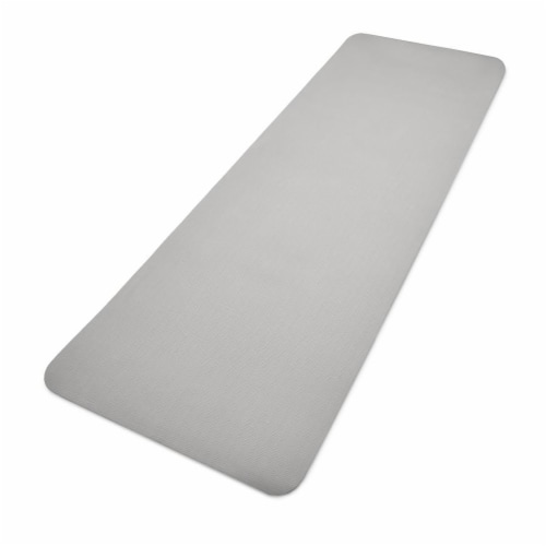 Adidas Universal Exercise Slip Resistant Fitness Yoga Mat, 8mm Thick, Grey Perspective: back