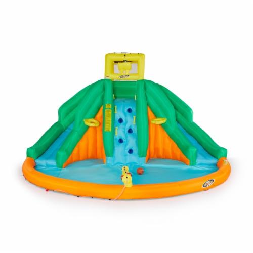 Kahuna 90475 Twin Peaks Kids Inflatable Splash Pool Backyard Water Slide Park Perspective: back