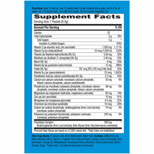 Emergen-C Immune Plus Super Orange System Support Drink Mix Packets 1000mg Perspective: back