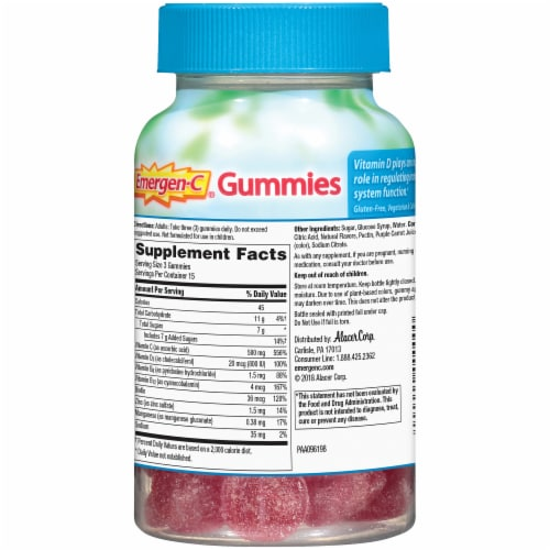 Emergen-C Immune+ with Vitamin D Raspberry Dietary Supplement Gummies Perspective: back