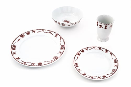 Harry Potter Creatures & Icons Dinnerware Sets | 4-Piece Ceramic Dinner Set Perspective: back