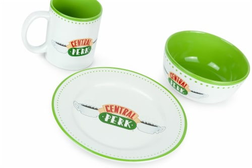 Friends Central Perk Coffee House Dining Set Collection | 3-Piece Dinner Set Perspective: back