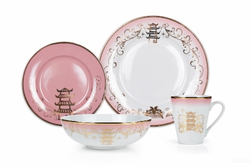 Disney Princess Themed 16 Piece Ceramic Dinnerware Set Collection 2 | Plates, Bowls, Mugs Perspective: back