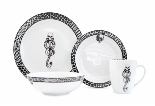 Harry Potter Voldemort Death Eater Dinnerware Sets | 16-Piece Ceramic Dinner Set Perspective: back