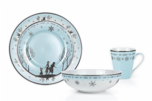 Disney Frozen 2 Anna & Elsa Ceramic Dining Set Collection | 16-Piece Dinner Set Perspective: back