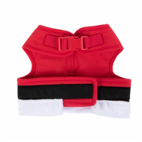 Simply Dog Small Fuzzy Red Santa Wrap Pet Harness Perspective: back
