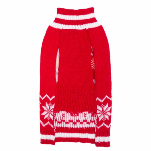 Simply Dog Mission Pets Santa Snowflake Sweater - Red Perspective: back