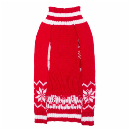 Simply Dog Red Santa Snowflake Sweater Perspective: back
