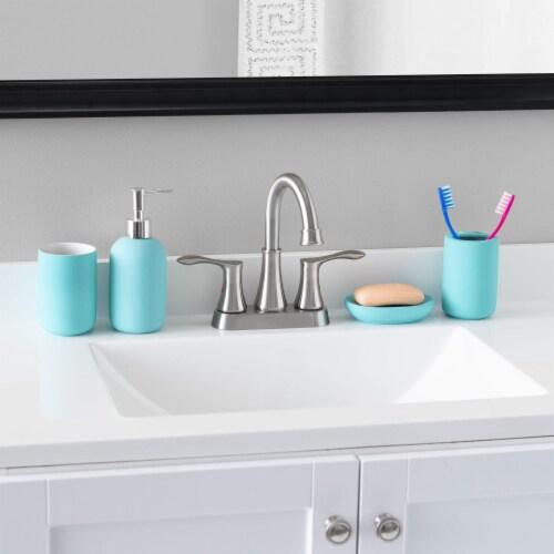 Home Basic 4 Piece Rubberized Ceramic Bath Accessory Set, Blue Perspective: back