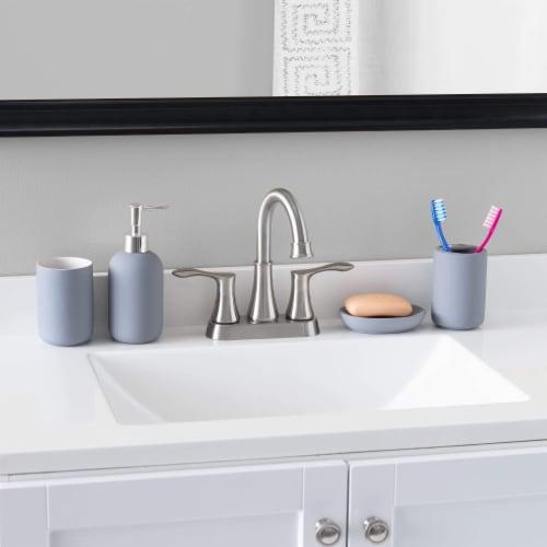 Home Basic 4 Piece Rubberized Ceramic Bath Accessory Set, Grey Perspective: back