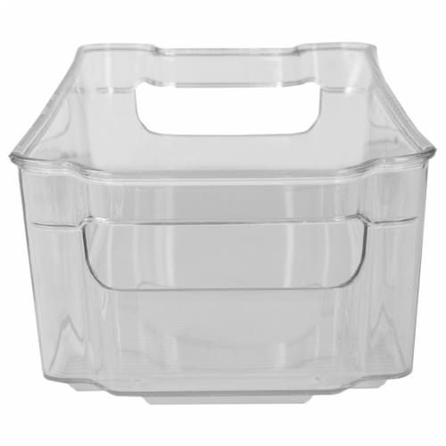 Stackable Medium Plastic Fridge Pantry and Closet Organization Bin with Handles Perspective: back