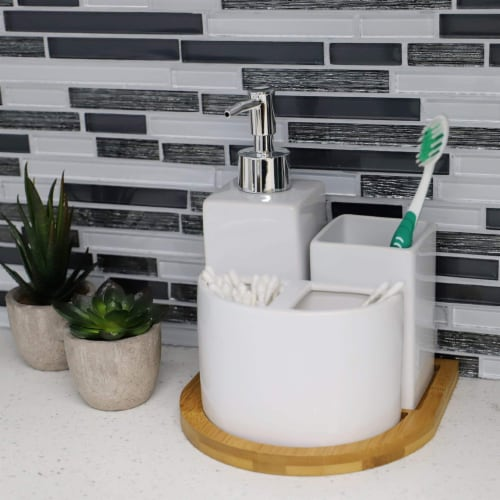 Serene Scandinavian 4 Piece Ceramic Bath Accessory Set with Bamboo Tray, White Perspective: back