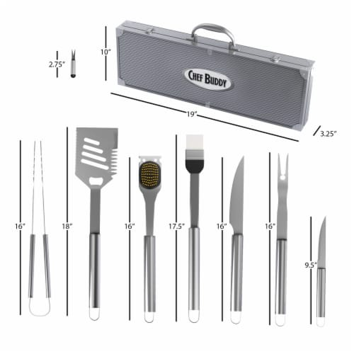 Chef Buddy 19 Piece Heavy Duty BBQ Grilling Tool Set with Case Perspective: back