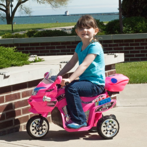 Lil' Rider FX 3 Motorcycle Wheel Battery Powered Bike - Pink Ride on Toy 2-4 Yrs Toddler Perspective: back