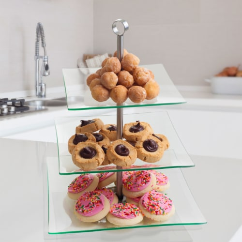 Modern Three Tier Square Dessert and Appetizer Stand Perspective: back