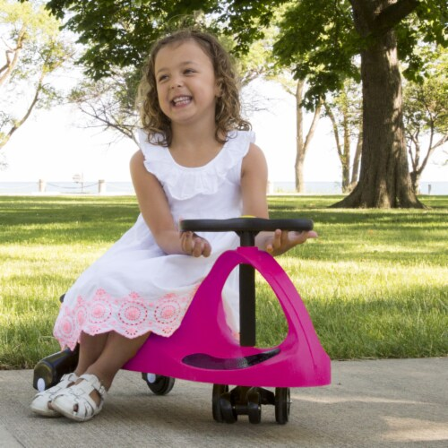 Zig Zag Wiggle Car Ride on - Hot Pink Energy Powered Ride on Toy Roller Coaster Car Perspective: back