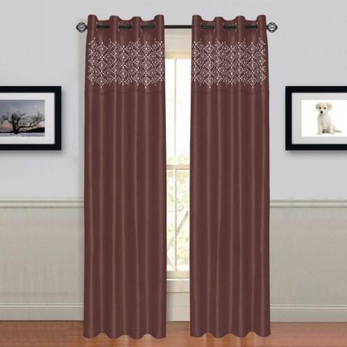 "Lavish Home Alla Grommet Curtain Panel 84"" Choc Perspective: back"