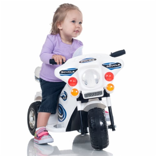 Lil' Rider Three Wheeled Motorcycle Ride-on - White Motorbike Battery Operated Ride on Toy Perspective: back