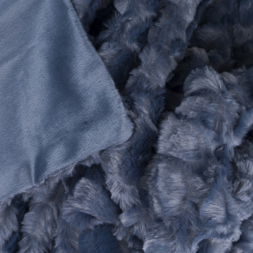 Lavish Home Plush Crocodile Embossed Faux Fur Mink Throw -  Blue Comfy and Plush Lightweight Perspective: back