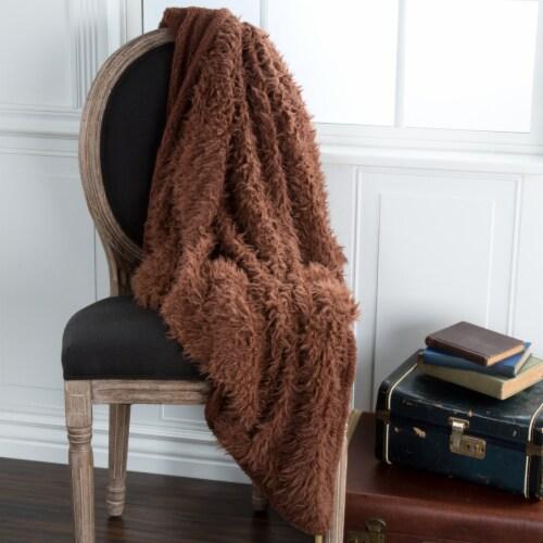 Lavish Home Solid Soft Plush Sherpa Fleece Throw Blanket - Coffee Perspective: back