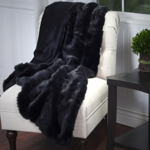 Lavish Home Luxury Long Haired Faux Fur Throw - Black Perspective: back