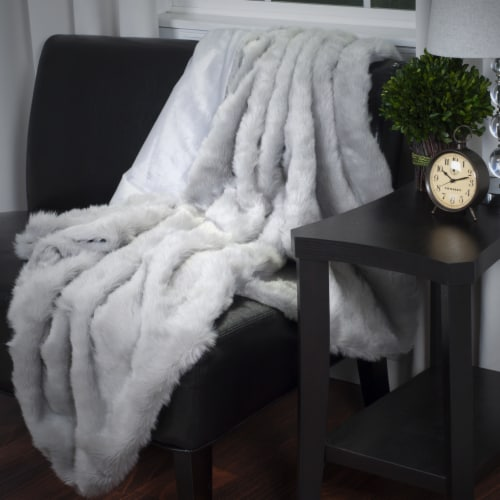 Lavish Home Luxury Long Haired Faux Fur Throw - Grey Perspective: back