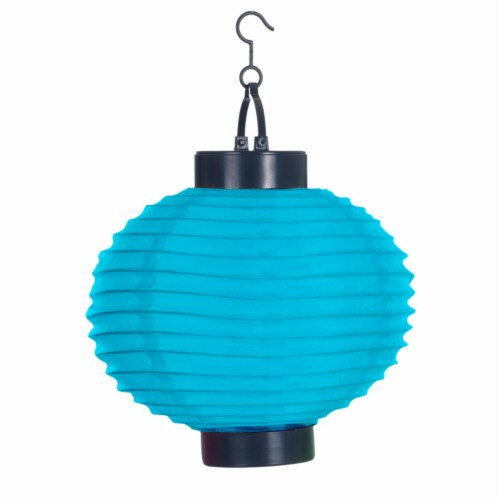 Pure Garden Outdoor Solar Chinese Lanterns - LED - Set of 4 - Blue Perspective: back