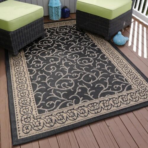 "Lavish Home Ornate Vine Indoor/Outdoor Area Rug - Black - 5'x7'7"" Perspective: back"