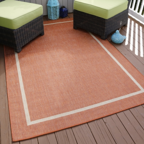 Lavish Home Border Indoor/Outdoor Area Rug - Orange - 5'x7'7 Perspective: back