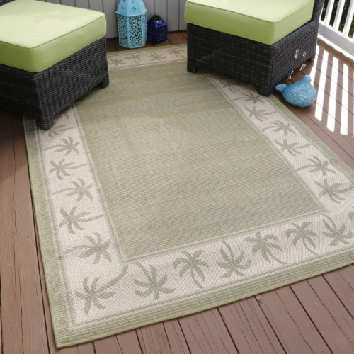 Lavish Home Palm Trees Indoor/Outdoor Area Rug - Green - 5'x7'7 Perspective: back