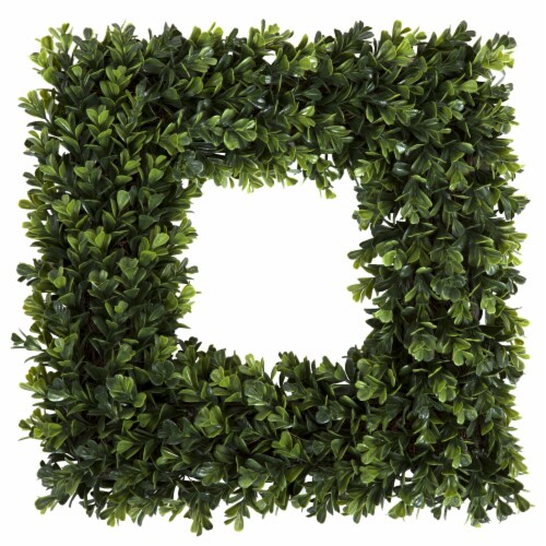 Pure Garden Square Boxwood Wreath - 16.5 inch x 16.5 inch Artificial Indoor Outdoor Floral Perspective: back
