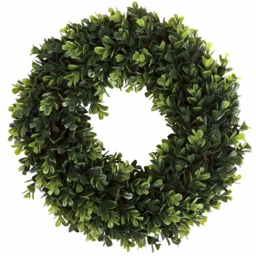 Pure Garden Boxwood Wreath - 12 inch Round Artificial Greenery Indoor Outdoor Perspective: back