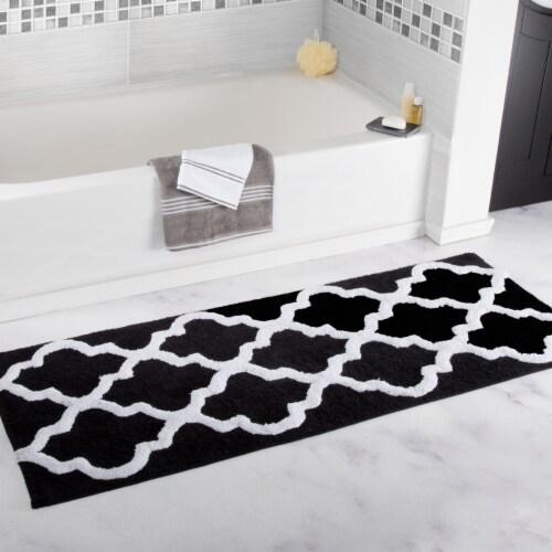 Lavish Home 100% Cotton Trellis Bathroom Mat - 24x60 inches - Black Perspective: back