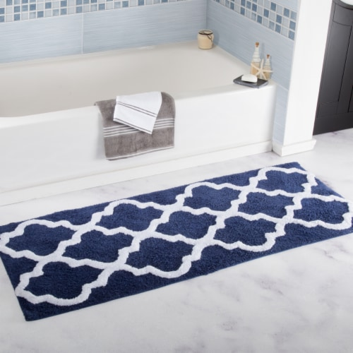 Lavish Home 100% Cotton Trellis Bathroom Mat - 24x60 inches - Navy Perspective: back