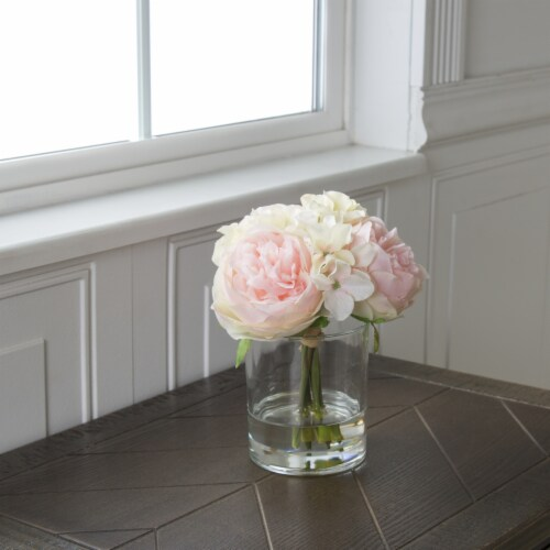 Pure Garden Hydrangea and Rose Floral Arrangement – Pink and Cream Perspective: back
