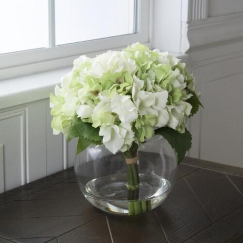 Pure Garden Hydrangea Floral Arrangement with Glass Vase - Green Perspective: back