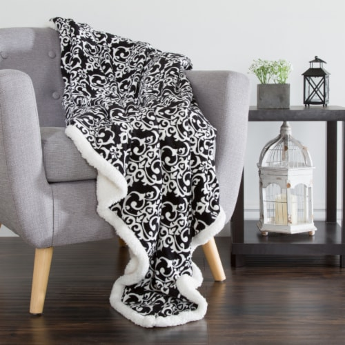 Lavish Home Fleece Sherpa Blanket Throw - Black/White Perspective: back