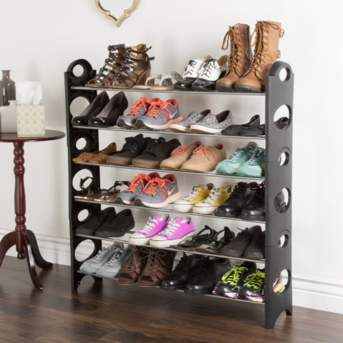 Everyday Home 6 Tier Stackable Shoe Rack 24 Pair Capacity - Black Perspective: back