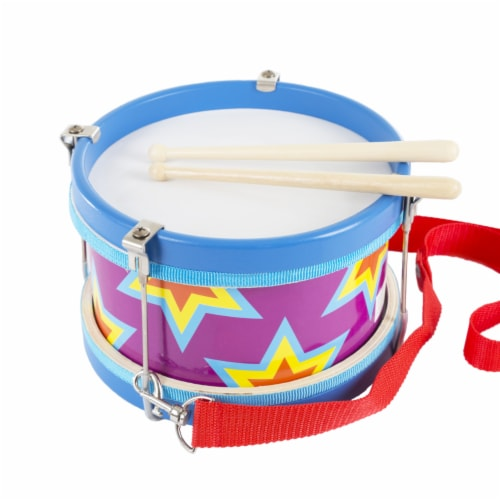 Children's Toy Snare Marching Drum, Double-Sided with Adjustable Neck Strap and Two Wood Drum Perspective: back