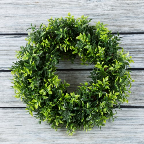 Artificial Opal Basil Leaf 11.5 inch Round Wreath by Pure Garden Perspective: back