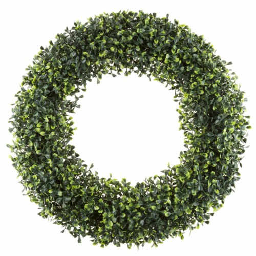 Artificial Boxwood 19.5 inch Round Wreath by Pure Garden Perspective: back