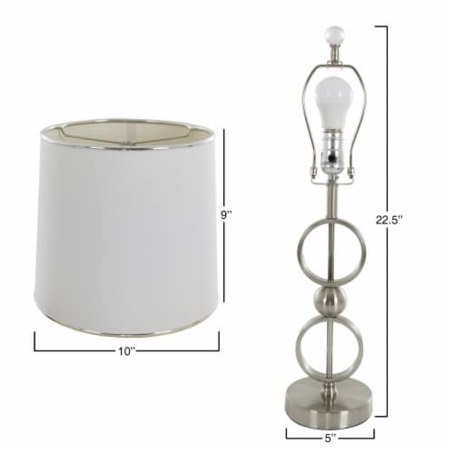 Set of 2 Modern Metal Matching Table Lamps with LED Bulbs and Shades Included Perspective: back