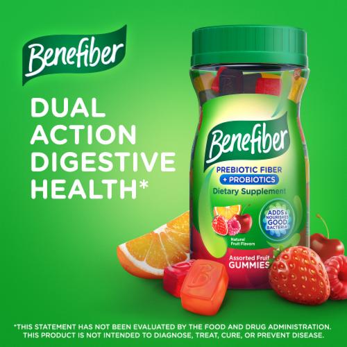 Benefiber Prebiotic Fiber Assorted Fruit Flavor Dietary Supplement Gummies Perspective: back