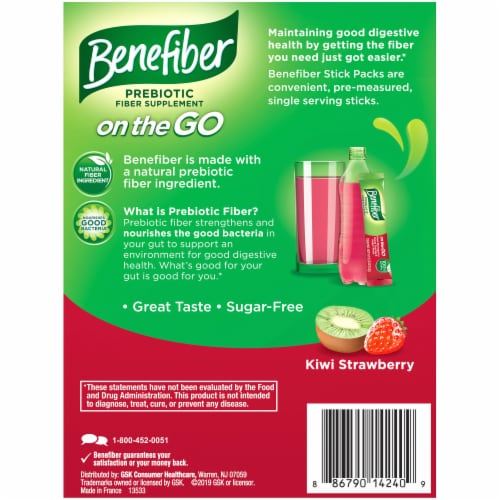Benefiber On The Go! Kiwi Strawberry Fiber Drink Mixes Perspective: back