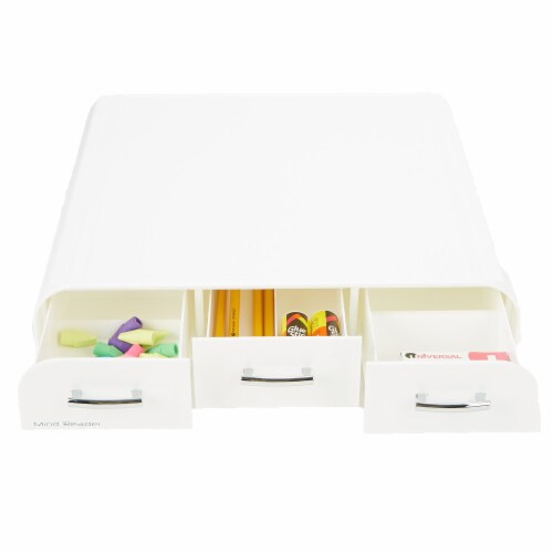 Mind Reader Adjustable Height Monitor Stand with Storage Drawers - White Perspective: back