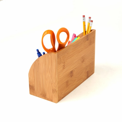 Mind Reader 5 Compartment Bamboo Desk Organizer  - Brown Perspective: back