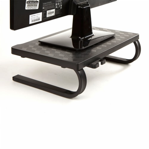 Mind Reader Ventilated Metal Monitor Stand with Keyboard Storage Perspective: back