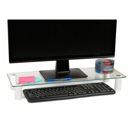 Mind Reader Glass Computer and Laptop Monitor Stand Riser Perspective: back